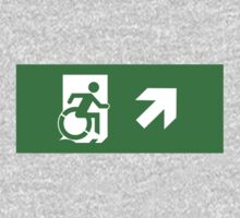 Accessible Means of Egress Icon Emergency Exit Sign, Right Hand Diagonally Up Arrow Kids Clothes
