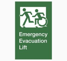 Emergency Evacuation Lift Sign, Left Hand, with the Accessible Means of Egress Icon and Running Man, part of the Accessible Exit Sign Project Kids Clothes