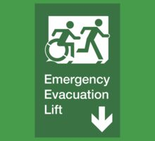 Emergency Evacuation Lift Sign, Right Hand Down Arrow, with the Accessible Means of Egress Icon and Running Man, part of the Accessible Exit Sign Project Kids Clothes