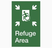 Refuge Area Accessible Exit Sign, with the Accessible Means of Egress Icon, part of the Accessible Exit Sign Project by Egress Group Pty Ltd