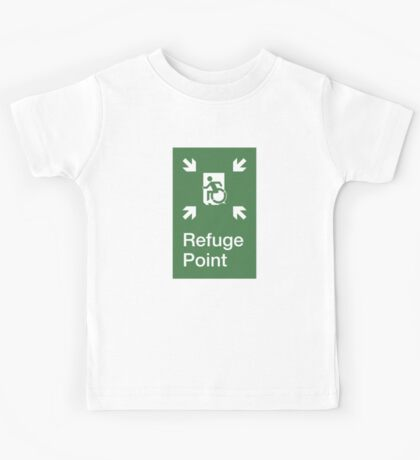 Refuge Point Accessible Exit Sign, with the Accessible Means of Egress Icon, part of the Accessible Exit Sign Project Kids Tee