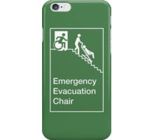 Emergency Evacuation Chair Sign, with the Accessible Means of Egress Icon, showing a person being assisted down a fire stairs, part of the Accessible Exit Sign Project iPhone Case/Skin