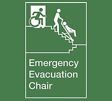 Emergency Evacuation Chair Sign, with the Accessible Means of Egress Icon, showing a person being assisted down a fire stairs, part of the Accessible Exit Sign Project by Egress Group Pty Ltd