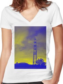 Psychedelic pylon Women's Fitted V-Neck T-Shirt