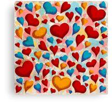 Coloured Hearts ♥ Canvas Print