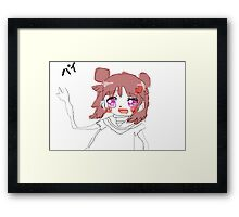"「バイ」 ""Bye"" Anime Girl Framed Print"