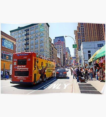 Tour Bus in Manhattan, New York Poster