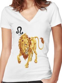 LEO 3D Women's Fitted V-Neck T-Shirt