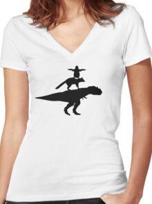 Funny animals dinosaur fox penguin pyramid Women's Fitted V-Neck T-Shirt