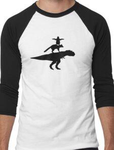 Funny animals dinosaur fox penguin pyramid Men's Baseball ¾ T-Shirt