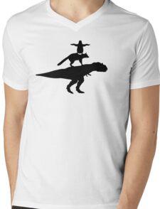 Funny animals dinosaur fox penguin pyramid Mens V-Neck T-Shirt