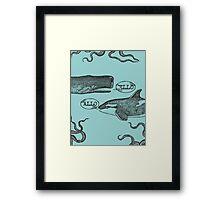 funny vintage hello killer whale sperm whale Framed Print
