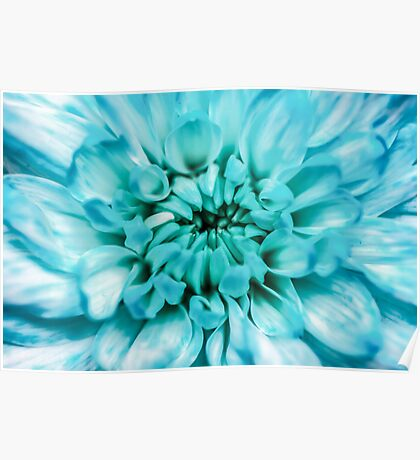 Blue Abstract Flower Poster
