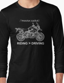 Adventure Bike Style Illustration White Ink for Dark Shirts Long Sleeve T-Shirt