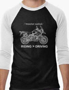 Adventure Bike Style Illustration White Ink for Dark Shirts Men's Baseball ¾ T-Shirt