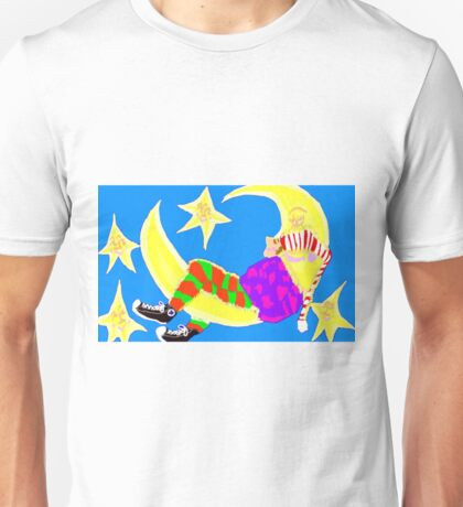 Sleeping On The Moon Surrounded By Stars Unisex T-Shirt