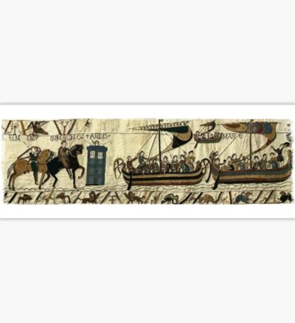 Tardis in the Bayeux tapestry t-shirt Sticker