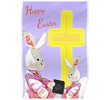 Jesus Loves Me Bunnies w/Bible and Cross  Poster