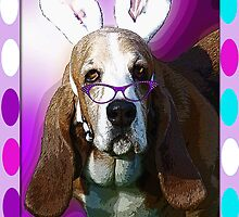 Happy Basset Hound Easter Greeting by Terri Chandler