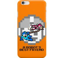 Rush dragging Megaman (Black Text) iPhone Case/Skin