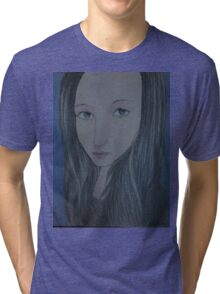 Beautiful woman in Blue Tri-blend T-Shirt