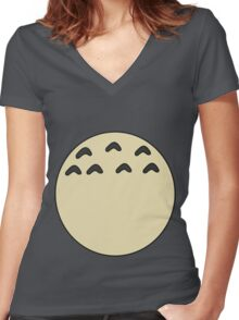 My Totoro belly Women's Fitted V-Neck T-Shirt