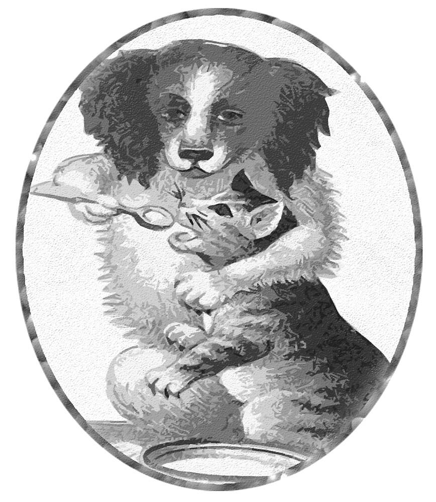 Dog feeding cat by Rob Hopper