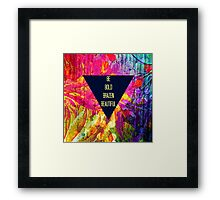 BE BOLD BRAZEN BEAUTIFUL Abstract Typography Hipster Geometric Triangle Colorful Rainbow Fine Art Painting Framed Print