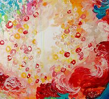 SUMMER DAYS Feminine Pretty Pink Red Peach Abstract Acrylic Painting Whismical Nature Color Splash by EbiEmporium