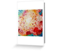 SUMMER DAYS Feminine Pretty Pink Red Peach Abstract Acrylic Painting Whismical Nature Color Splash Greeting Card