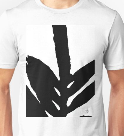 Green Fern Black and White Unisex T-Shirt