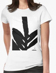 Green Fern Black and White Womens Fitted T-Shirt