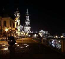 Dresden - View at The Cathedral of the Holy Trinity and Semperoper by Ronny Falkenstein