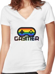 Rainbow Gamer Gaymer Women's Fitted V-Neck T-Shirt