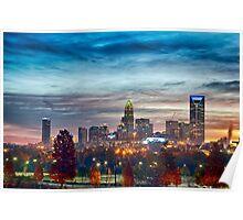 charlotte north carolina skyline morning sunrise Poster