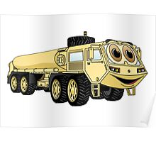 Military Tanker Truck Cartoon Sand Poster