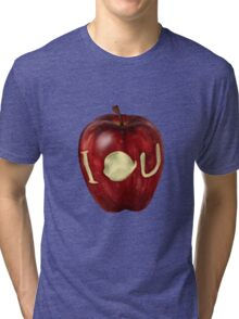 Moriarty IOU apple- BBC Sherlock Tri-blend T-Shirt