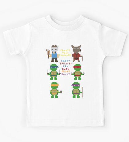 teenage mutant pixel turtles Kids Tee