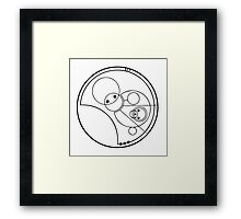 """Allons-y!"" Translated into Gallifreyan Framed Print"
