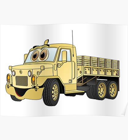 Military Stake Truck Cartoon Sand Poster