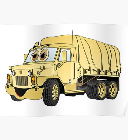 Military Troop Truck Cartoon Sand Poster