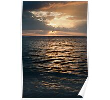 Glowing sunset over the ocean Poster
