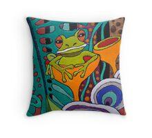 Fabulous Fungi Frog detail Throw Pillow
