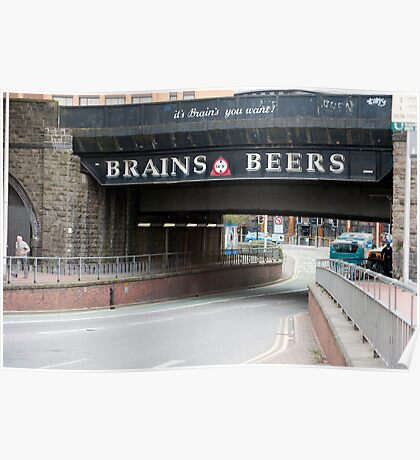 Underpass with a beer advertisement Poster