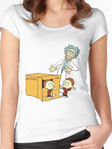 Rick and Morty Calvin and Hobbes mashup Women's Fitted Scoop T-Shirt