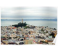 Coit Tower and bay Poster