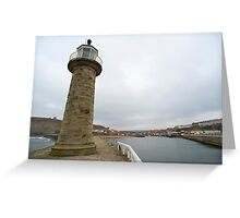 Pier navigation lighthouse Greeting Card