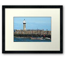 Whitby Pier and Bark Endeavour replica Framed Print