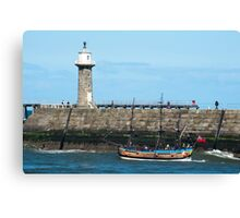 Whitby Pier and Bark Endeavour replica Canvas Print