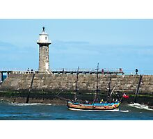 Whitby Pier and Bark Endeavour replica Photographic Print